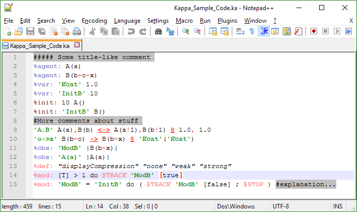 Sample of Notepad++ highlighter.